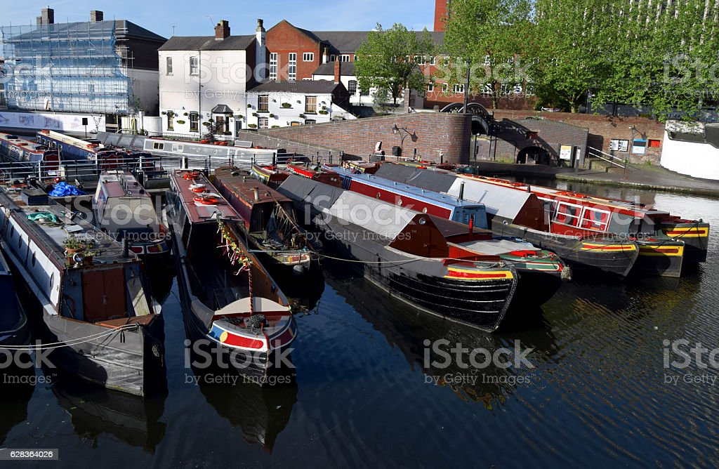 Boats on the Birmingham old canal in city center stock photo