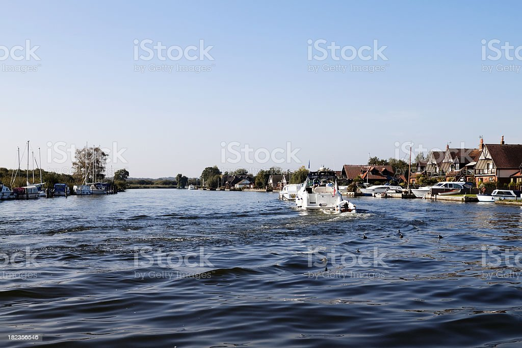 Boats on the Bure at Horning stock photo
