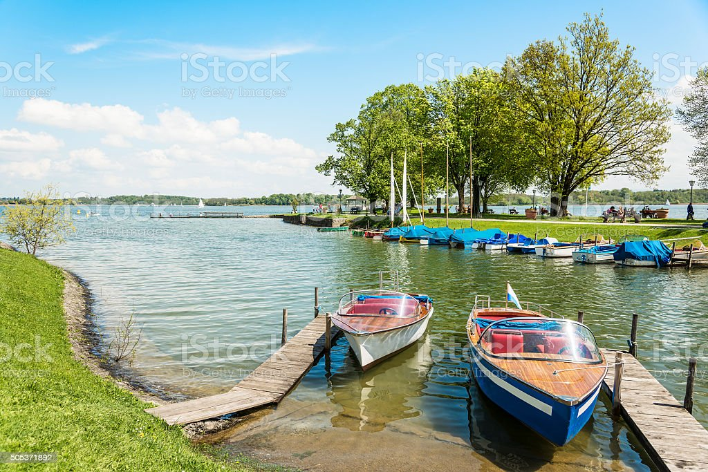 boats on the Chiemsee, Germany stock photo