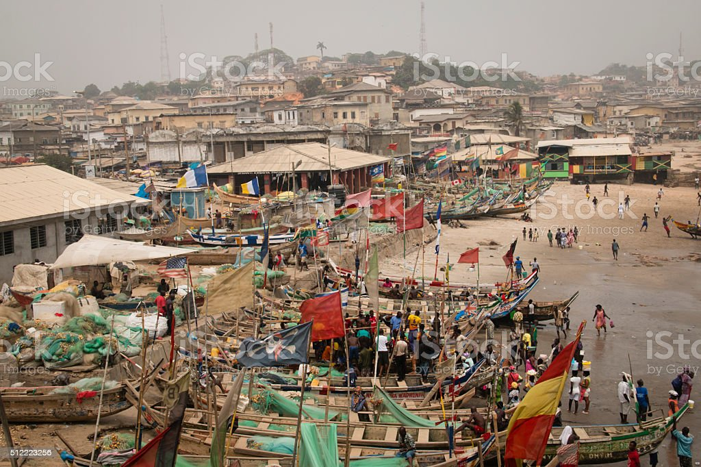 Boats on the coast of Cape Coast, Ghana stock photo