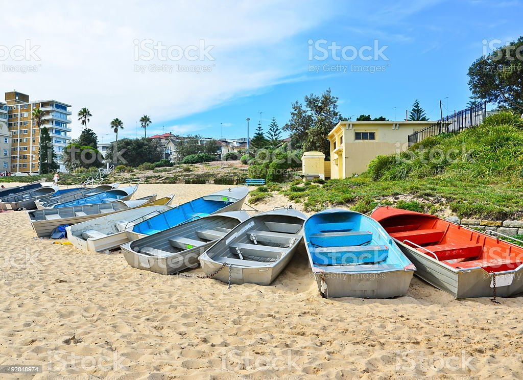 Boats on the Coogee Beach, Sydney, Australia. stock photo