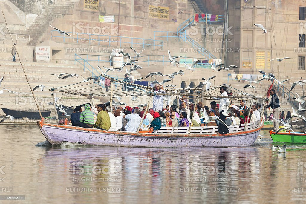 Boats on the Ganges river royalty-free stock photo