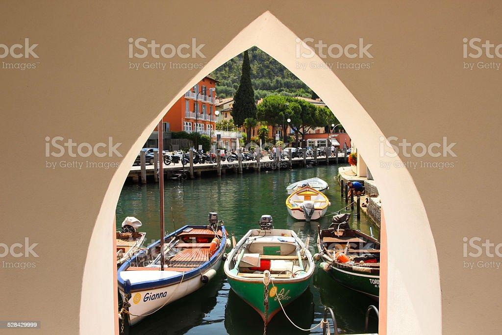 boats on the Garda lake stock photo