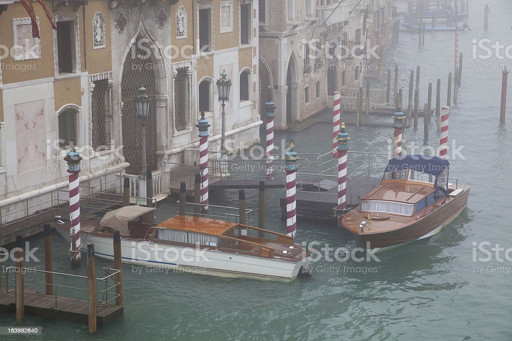 boats on the Grand Canal with fog royalty-free stock photo