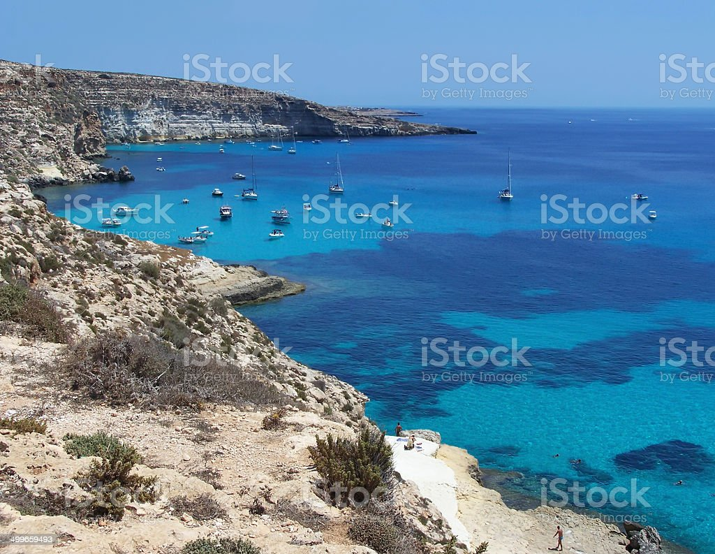 Boats on the island of rabbits- Lampedusa, Sicily stock photo