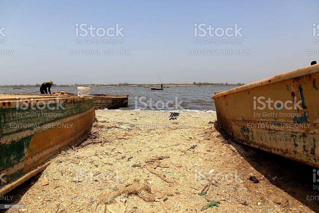 Boats on the Lake Retba-Lac Rose. Cap Vert Peninsula-Senegal. 3135 stock photo