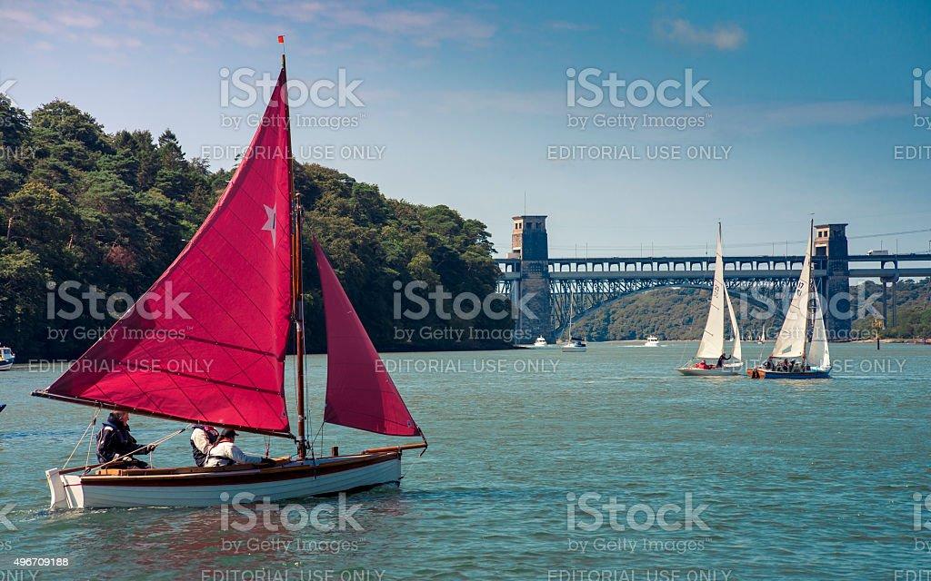 Boats on the Menai Straights stock photo