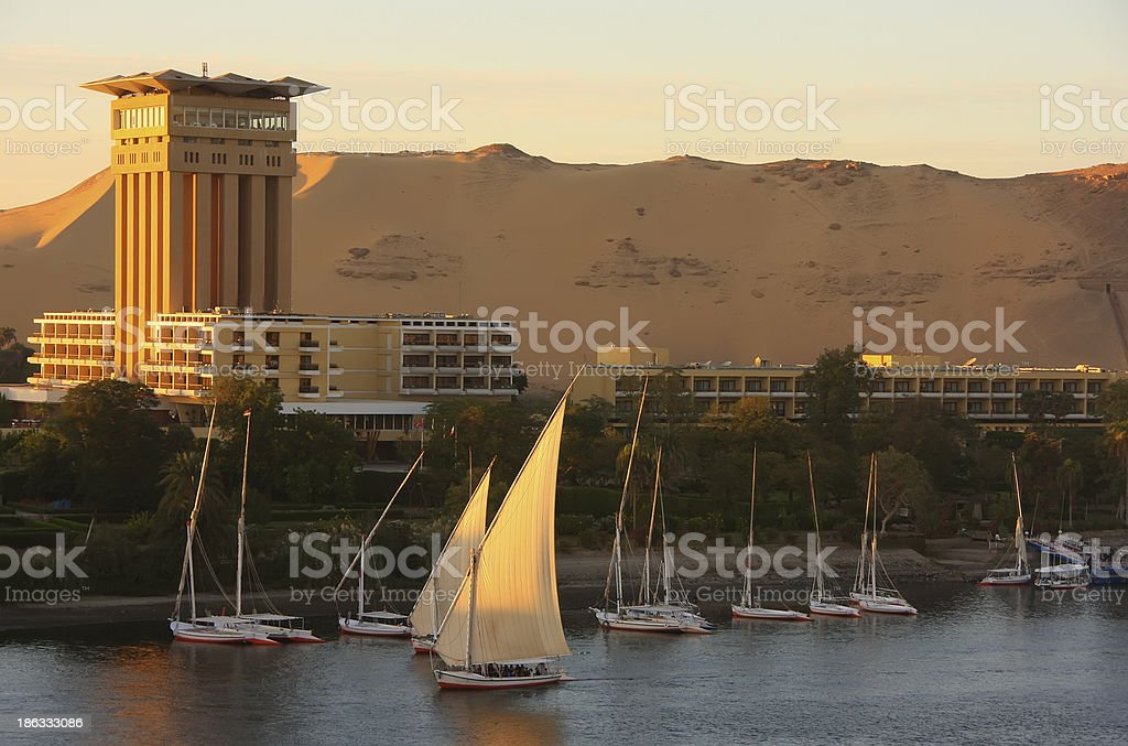 Boats on the Nile river, Aswan royalty-free stock photo