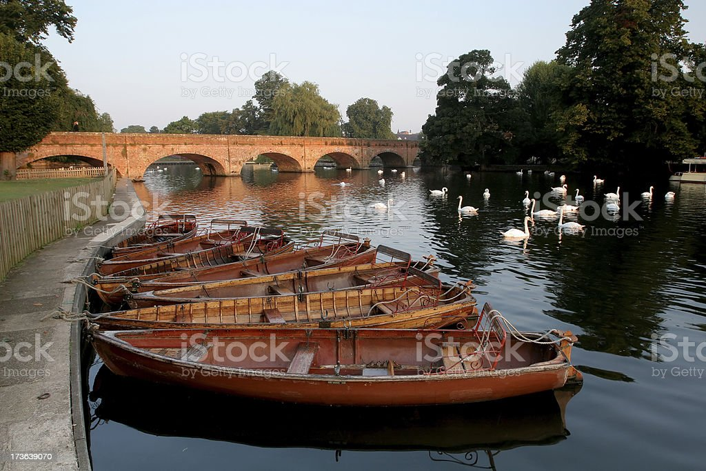 Boats on the River Avon stock photo