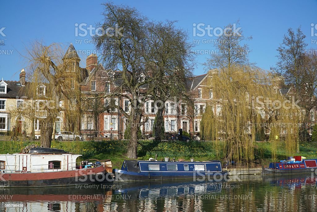 Boats on the River Cam, Cambridge, England stock photo