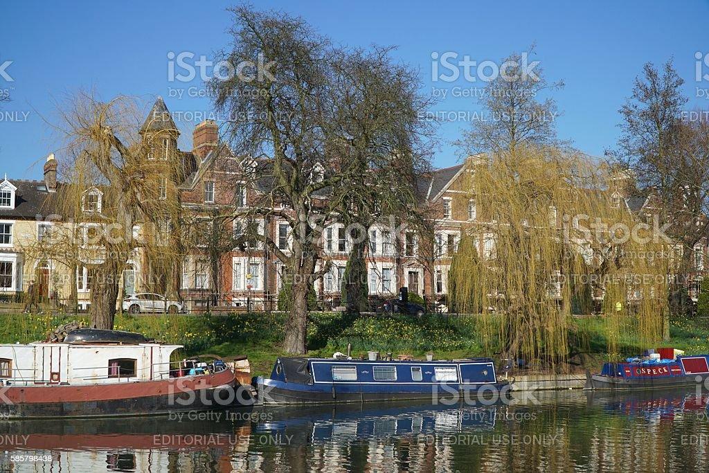 Boats on the River Cam, Cambridge, England stock photo