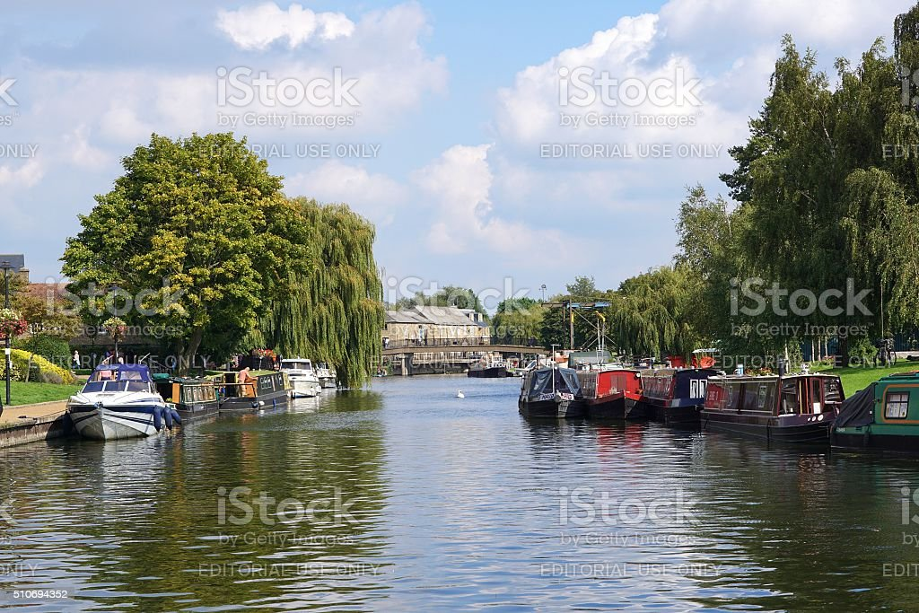 Boats On The River Great Ouse, Ely, Cambridgeshire stock photo