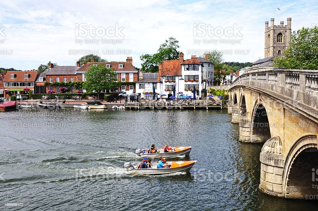 Boats on the river, Henley-on-Thames stock photo