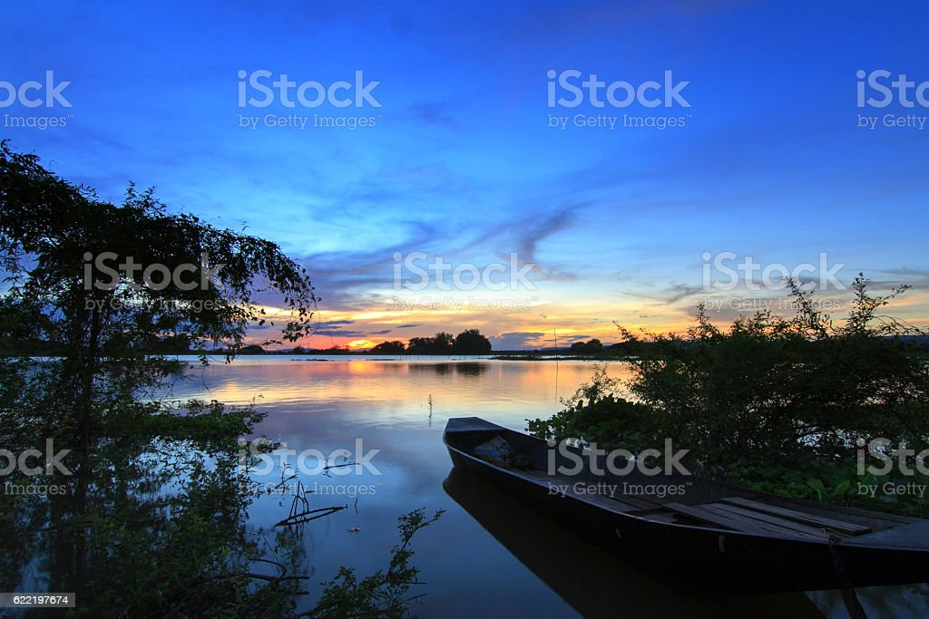 Boats on the river with the evening light stock photo
