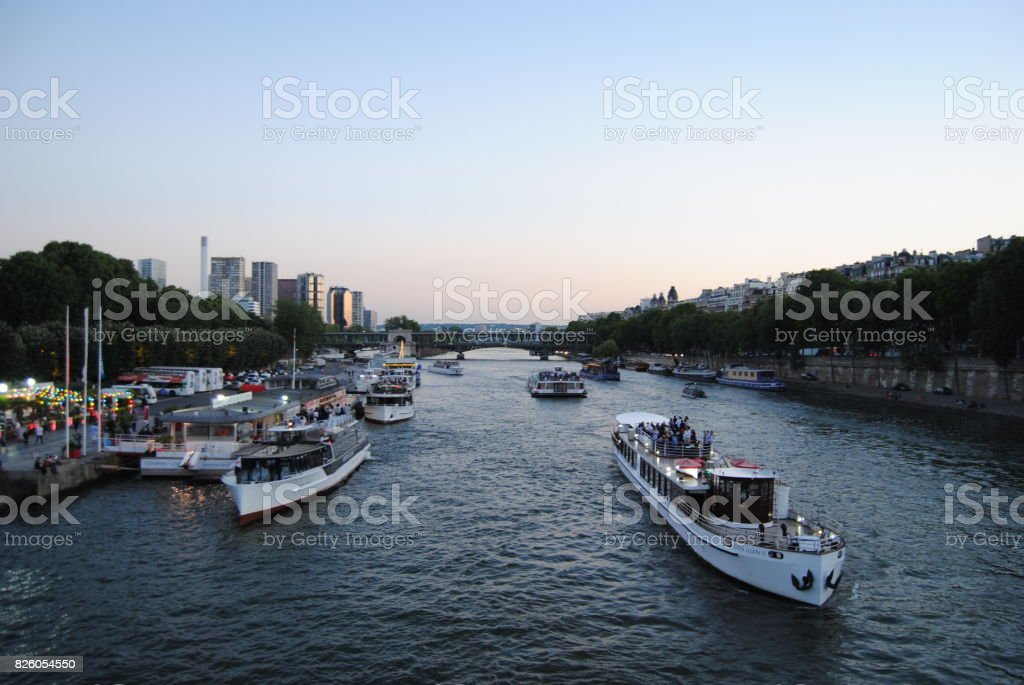 Boats on the Seine stock photo