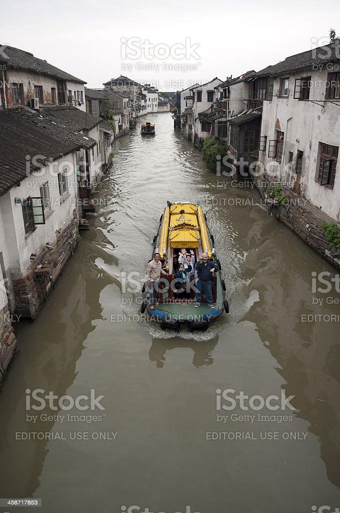 Boats on The Shantang River Suzhou royalty-free stock photo