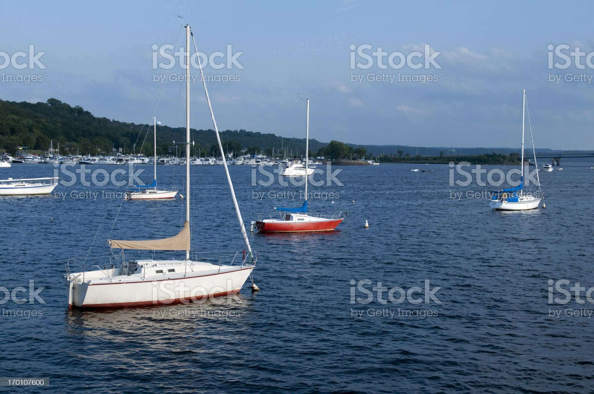 Boats on the St. Croix River royalty-free stock photo