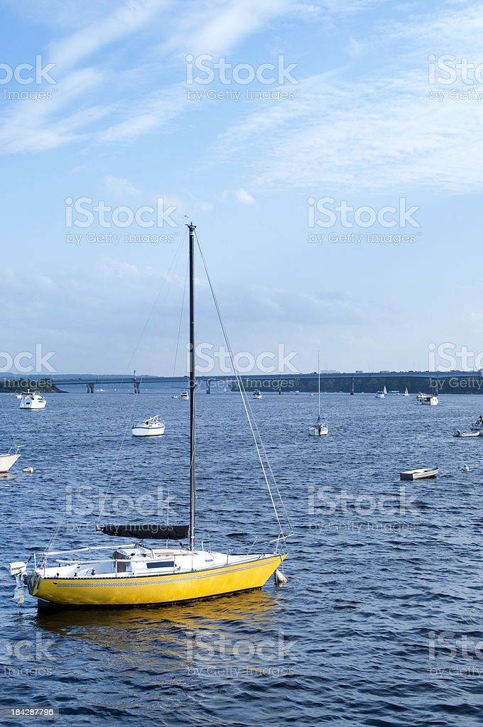 Boats on the St. Croix River stock photo