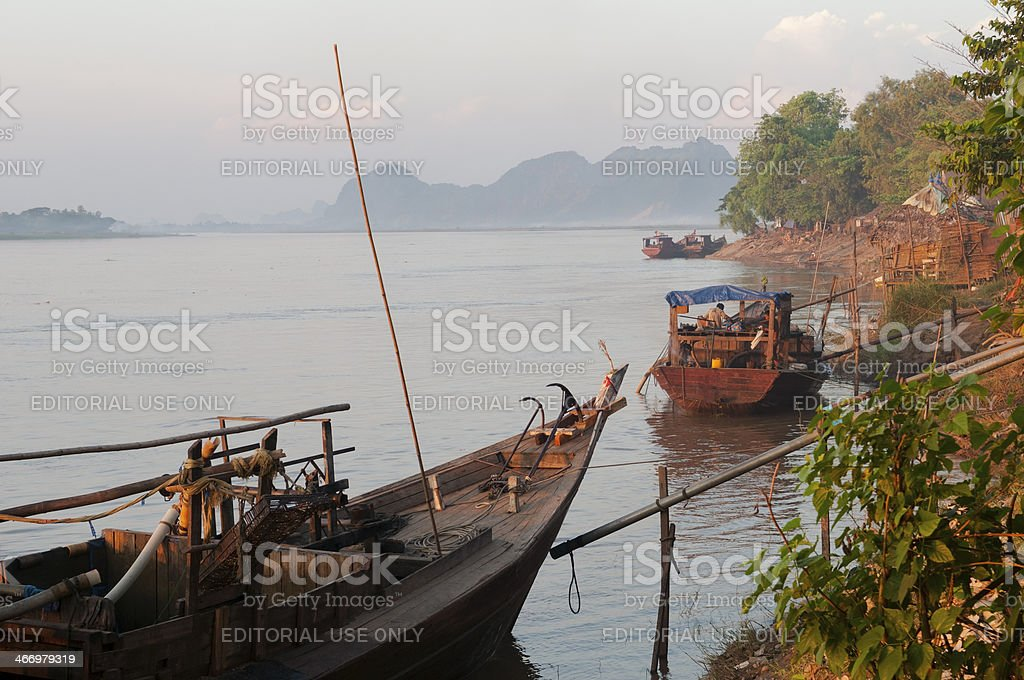 Boats on the Thanlwin River in Hpa-An royalty-free stock photo