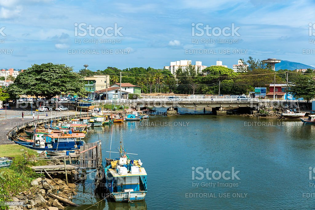 Boats on the water from an old fishing village stock photo