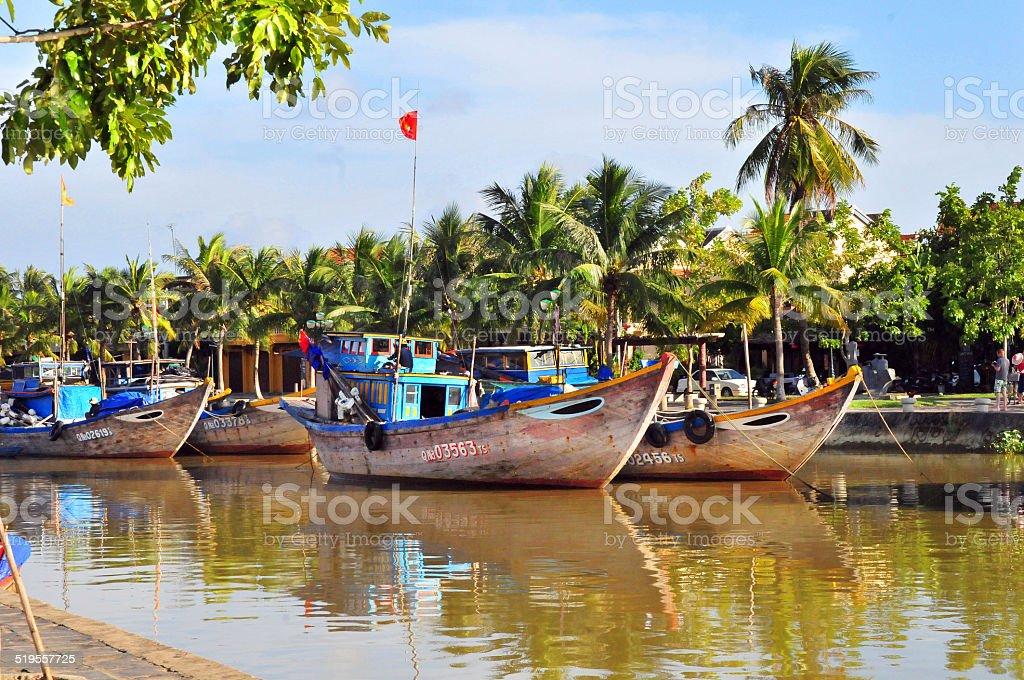 Boats on Thu Bon River, Hoi An, Vietnam stock photo