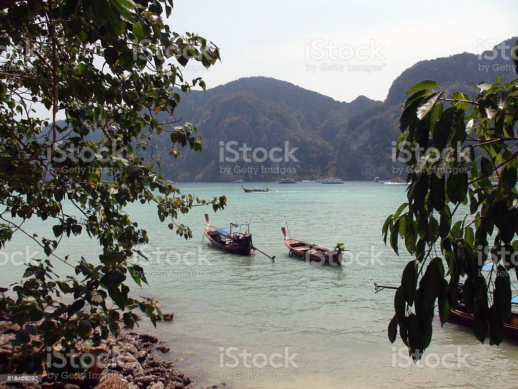 Boats On Tonsai Bay Phi Phi Island Phuket Thailand.Asia stock photo