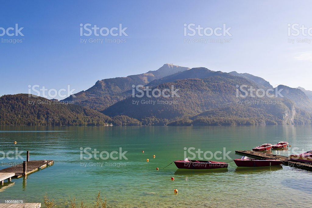 boats on Wolfgangsee stock photo