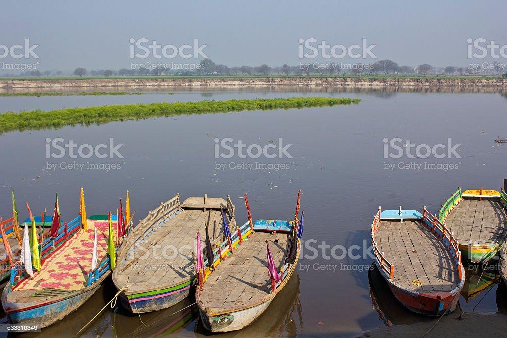Boats on Yamuna stock photo