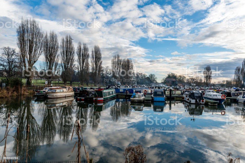 Boats parked at Marina in Northampton stock photo