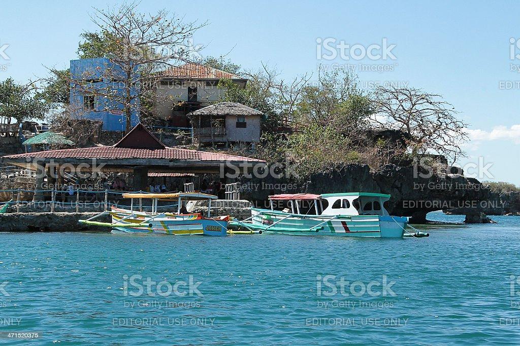 Barche parcheggiate, centinaia di isole nelle Filippine foto stock royalty-free