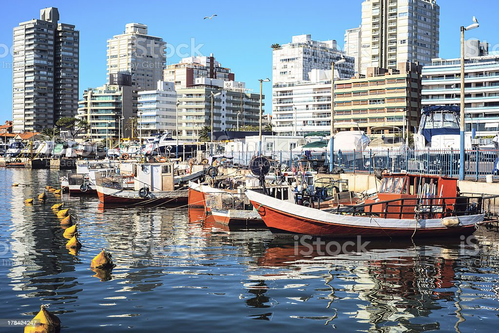 Boats reflecting in the docks, Punta del Este, Uruguay stock photo