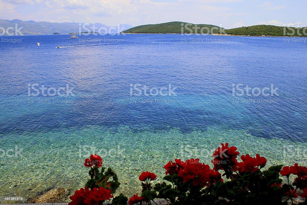 Boats & Ships in mediterranean adriatic blue sea beach - Croatia stock photo