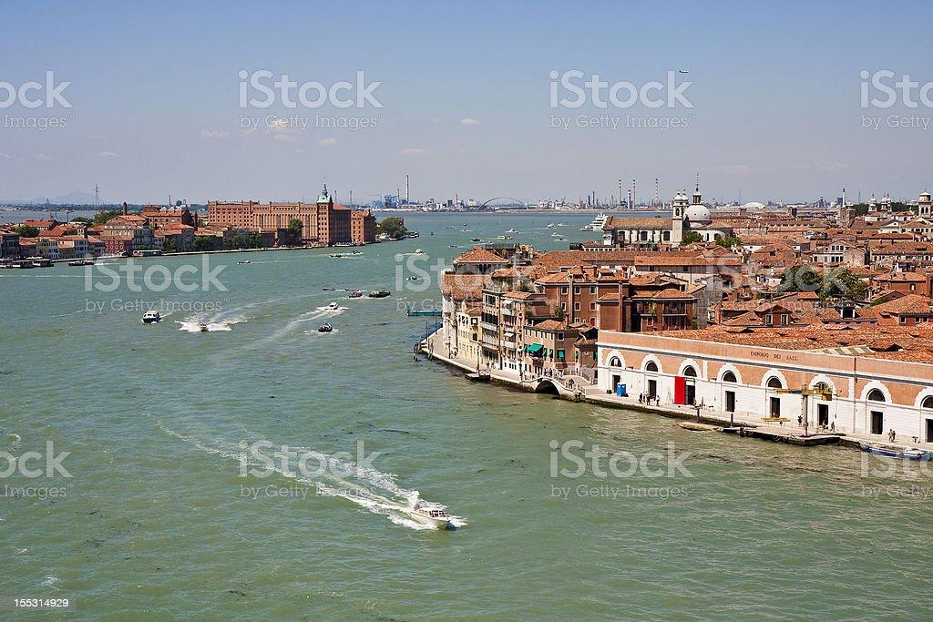 Boats Speeding Through Venice Canals royalty-free stock photo