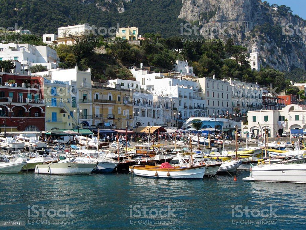 Boats Tied Up Alongside At  Marina Grande Port stock photo
