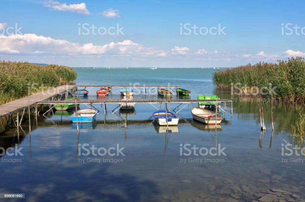 Boats - Tihany stock photo