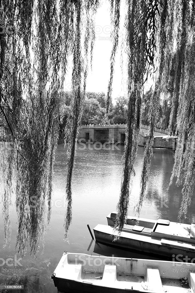 Boats, trees and water royalty-free stock photo
