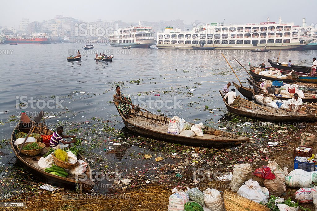 Boats Waiting to Cross River Buriganga stock photo