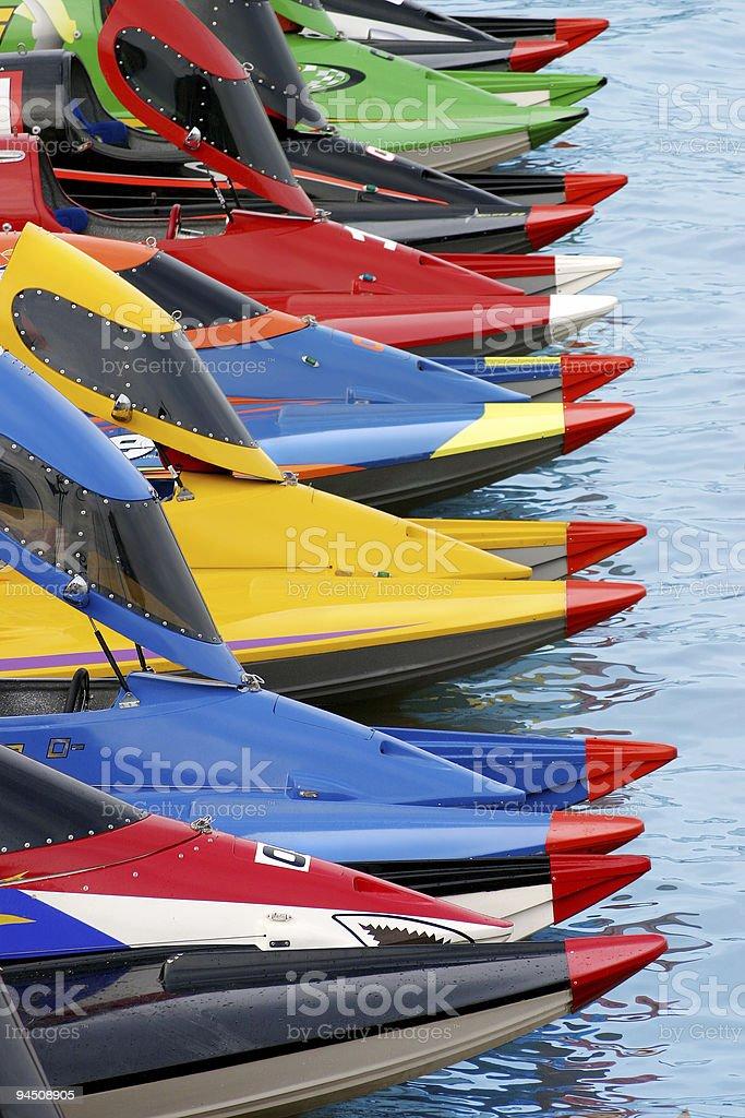 Boats waiting to start royalty-free stock photo