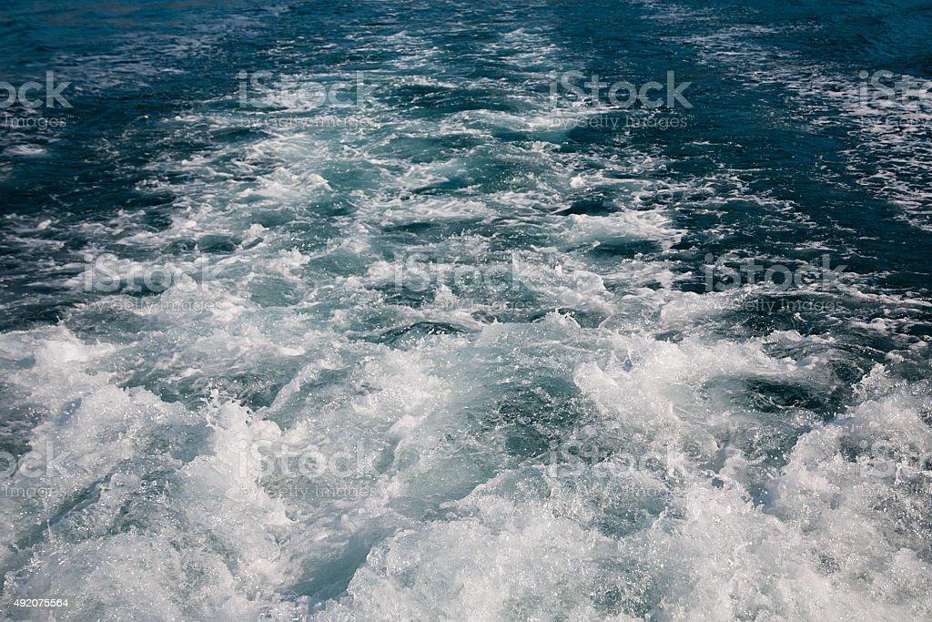Boat's wake stock photo