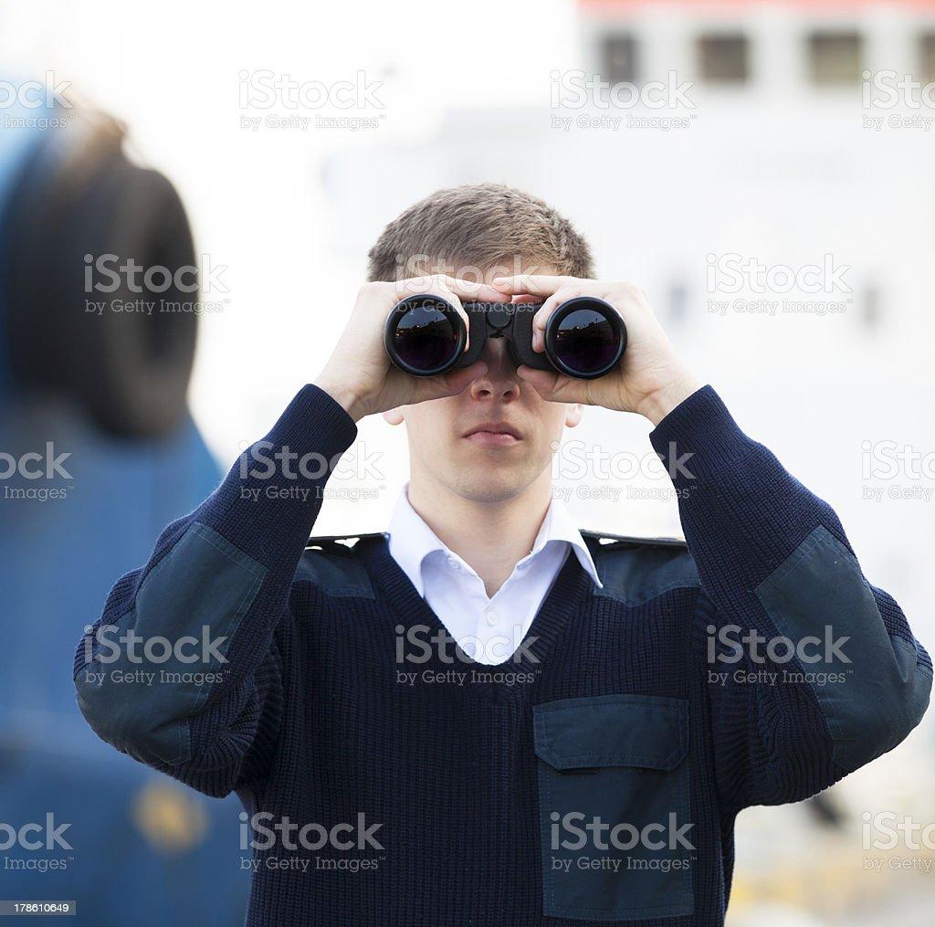 boatswain near the boat stock photo