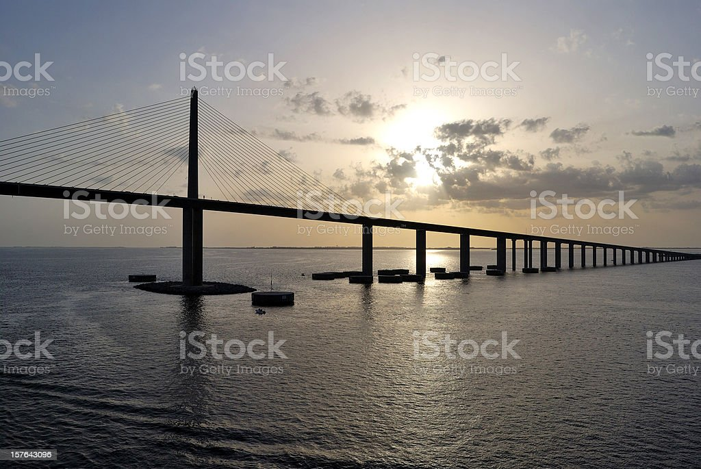Bob Graham Sunshine Skyway Bridge Tampa Bay Florida at Dusk stock photo
