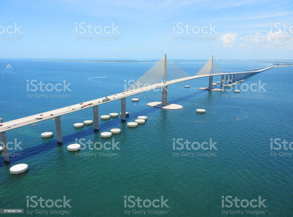 Bob Graham Sunshine Skyway Bridge Tampa Bay Florida stock photo