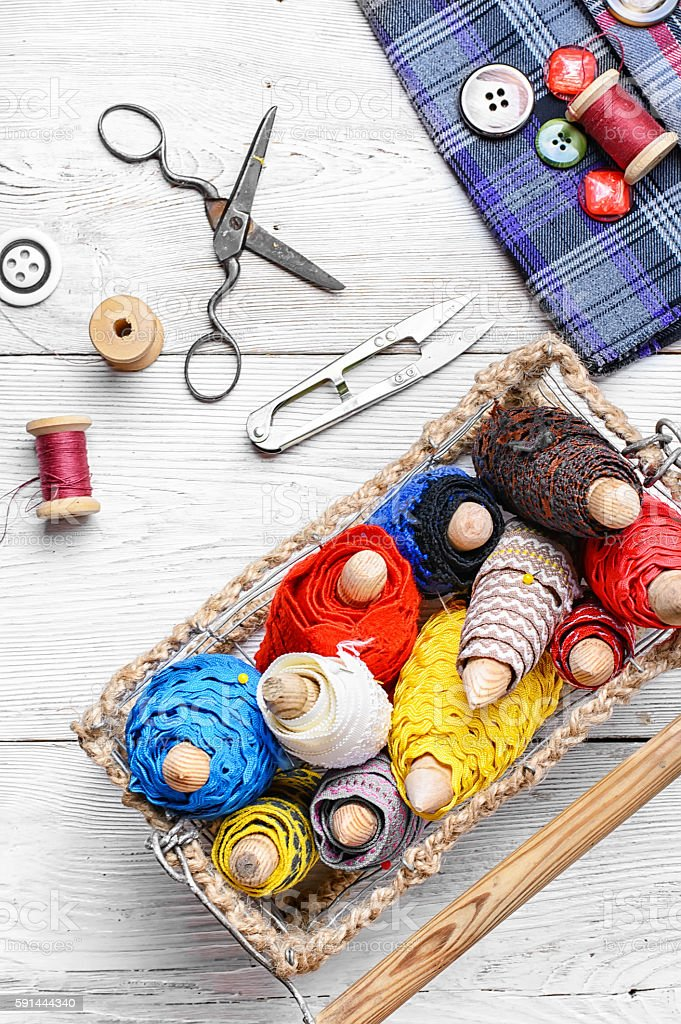 Bobbin lace for crafts stock photo