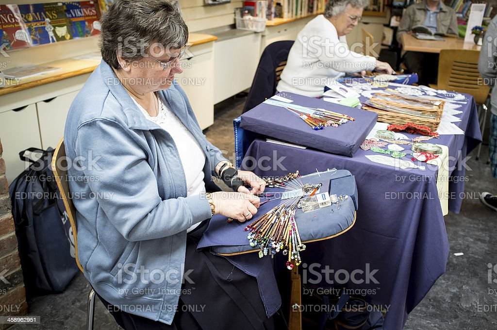 Bobbin Lacemaking Demonstration stock photo