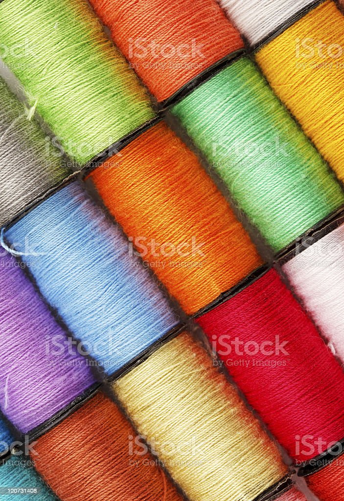 bobbins of lurex thread royalty-free stock photo