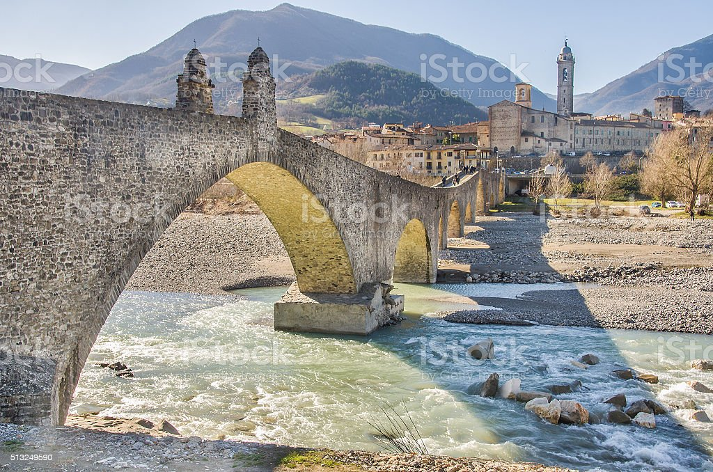 Bobbio Val Trebbia river Bridge  Piacenza Emilia Romagna stock photo