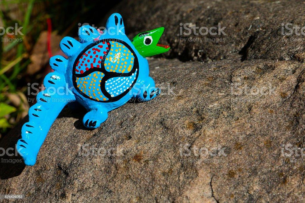 Bobble head Lizard on a Grey Rock stock photo