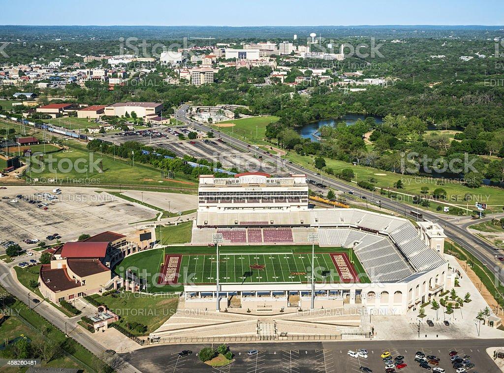 Bobcat Football Stadium Texas State University San Marcos aerial view stock photo
