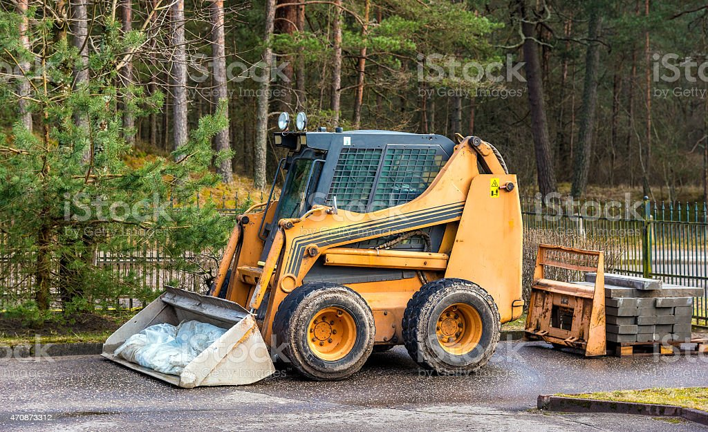 Bobcat or skid loader parked in forest stock photo