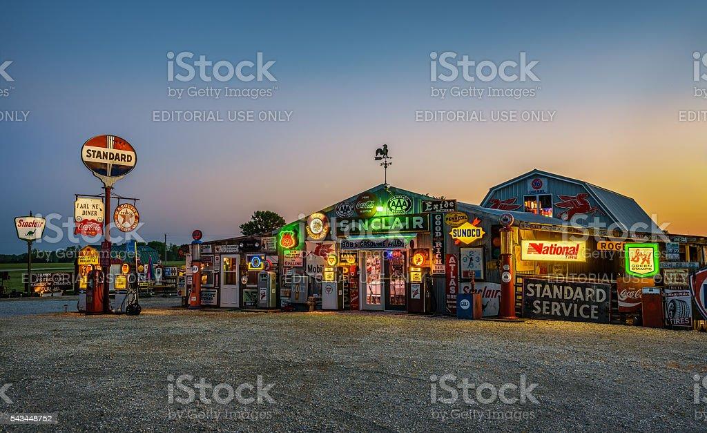 Bob's Gasoline Alley  on historic route 66 in Missouri stock photo